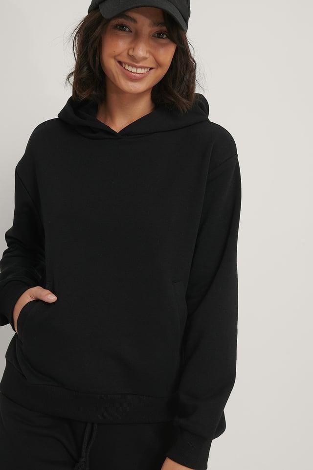 Black Pocket Detail Hoodie