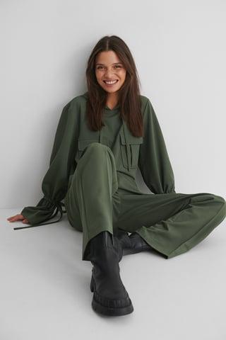 Dark Green Hættetrøje Med Detaljer