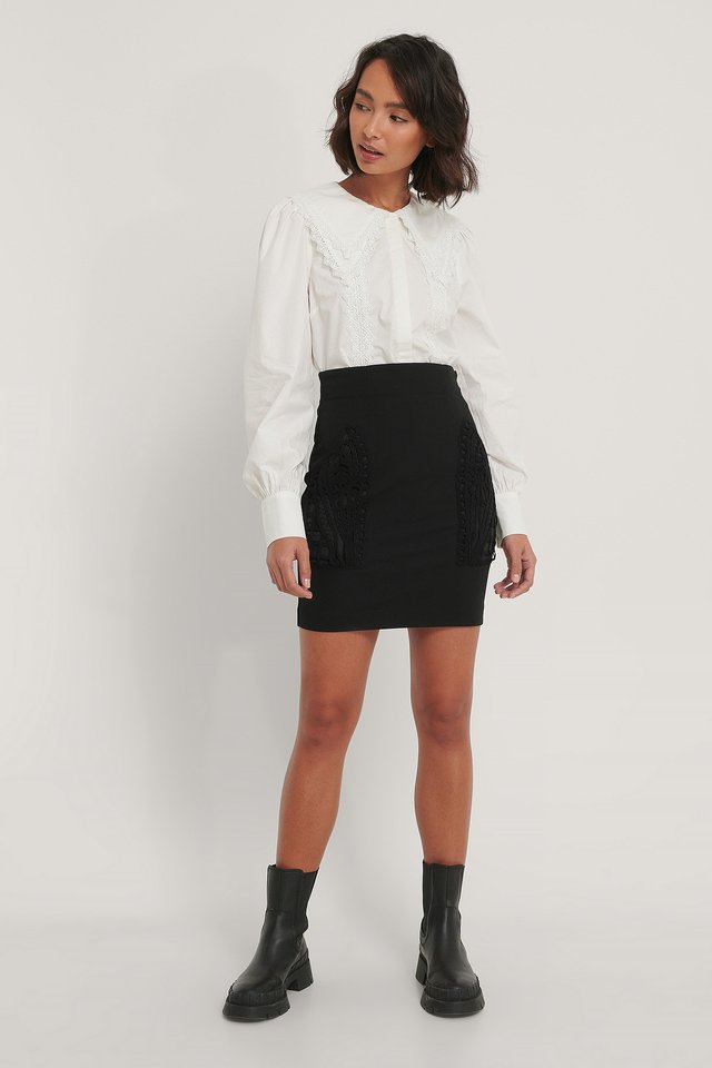 Black Pocket Detail Skirt