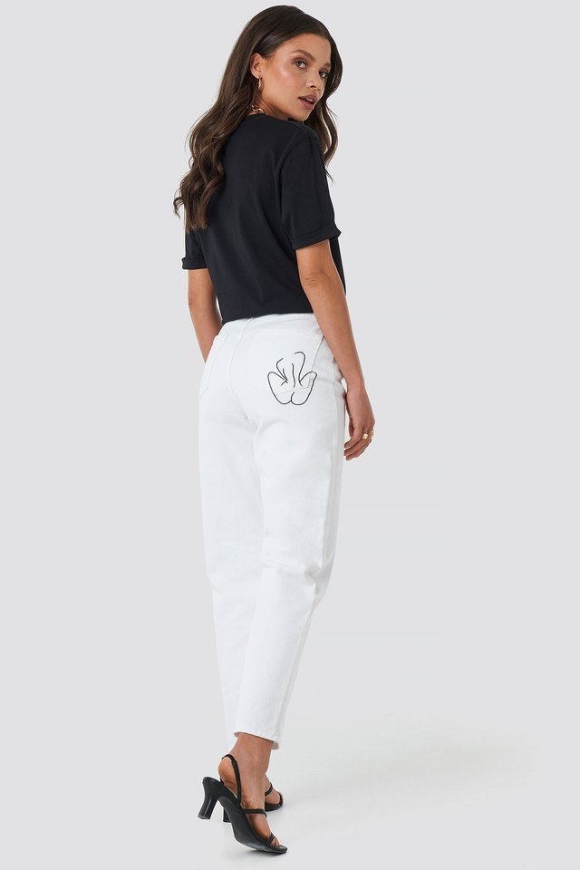 Pocket Embroidered Jeans White