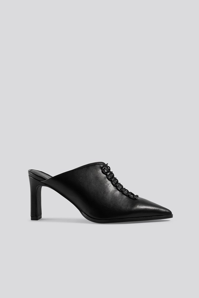 Black Pointy Lace Up Mules