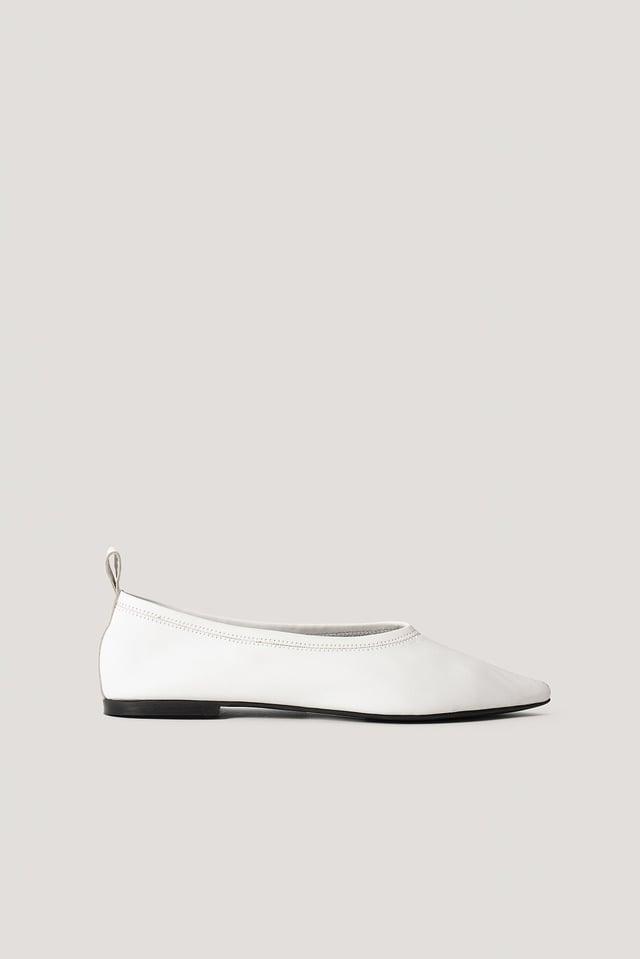 Pointy Leather Ballerinas White