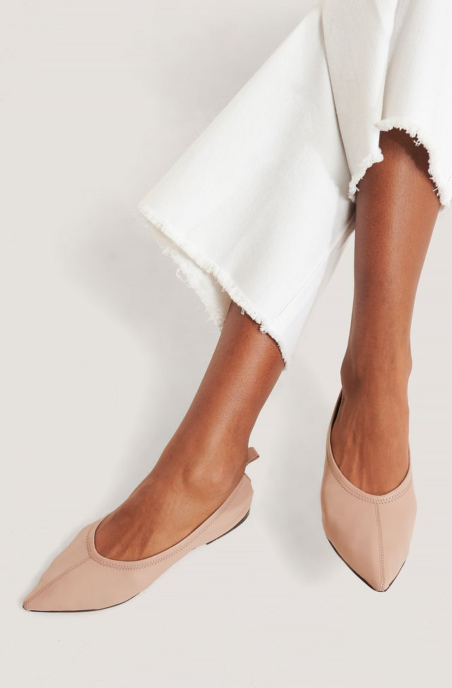 Pointy Leather Ballerinas Dusty Pink