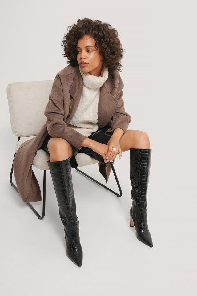 Black Spetsiga Boots Med Löst Skaft
