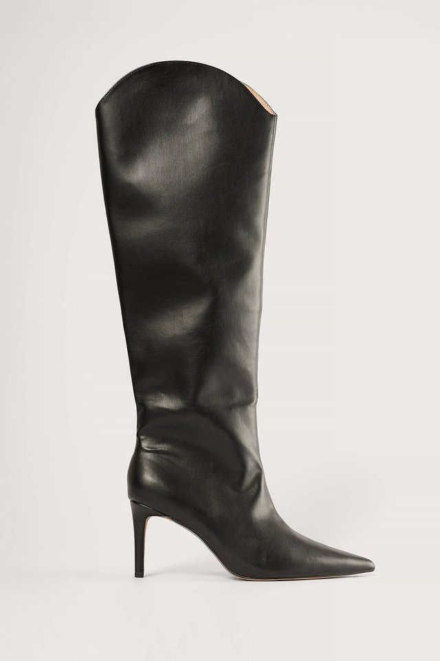Black Pointy Shaft Boots