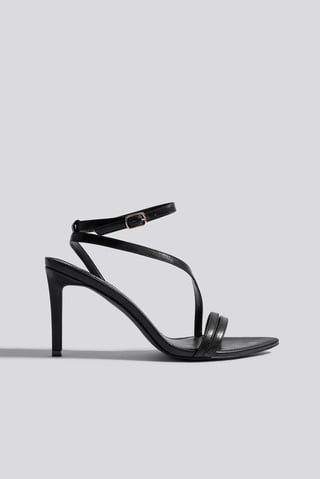 Black Pointy Sole Strappy Heels