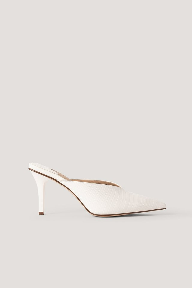 Pointy Squared Back Mules White