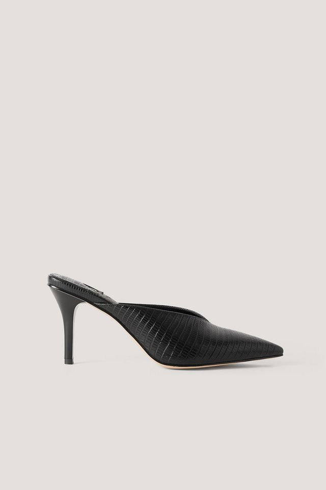 Pointy Squared Back Mules Black