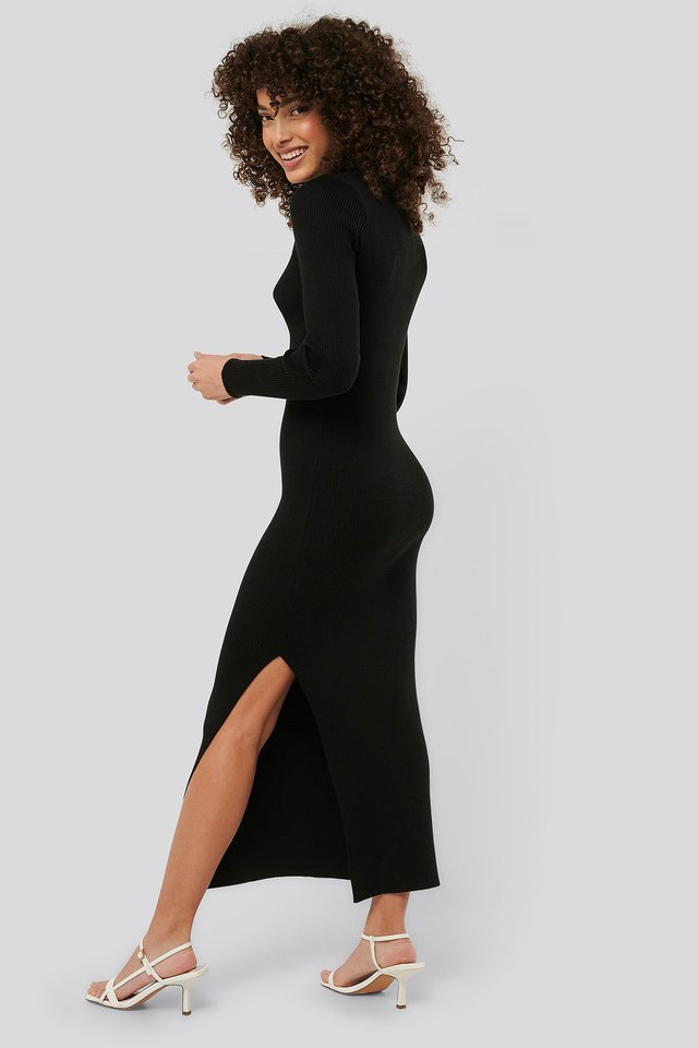 Polo Collar Knit Maxi Dress Black