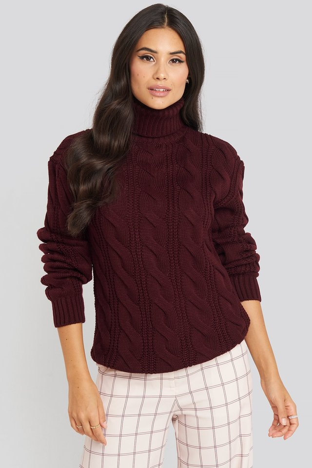 Polo Neck Cable Knitted Sweater Burgundy