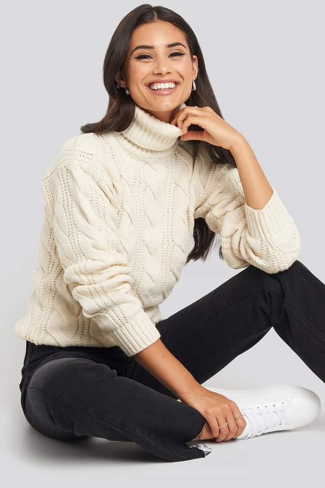 Polo Neck Cable Knitted Sweater Offwhite