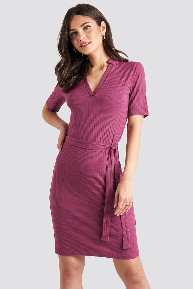 V-Neck Jersey Midi Dress Purple