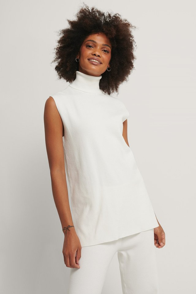 White Polo Neck Side Slit Vest