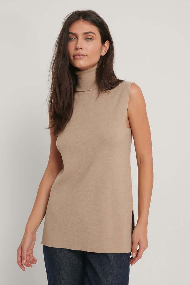 Beige Polo Neck Side Slit Vest