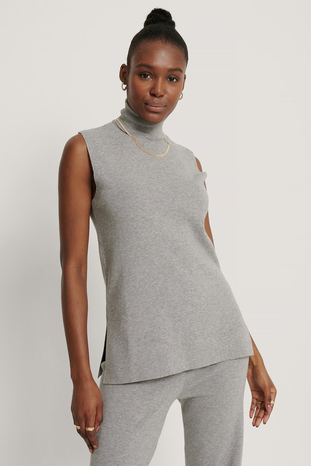 Grey Polo Neck Side Slit Vest