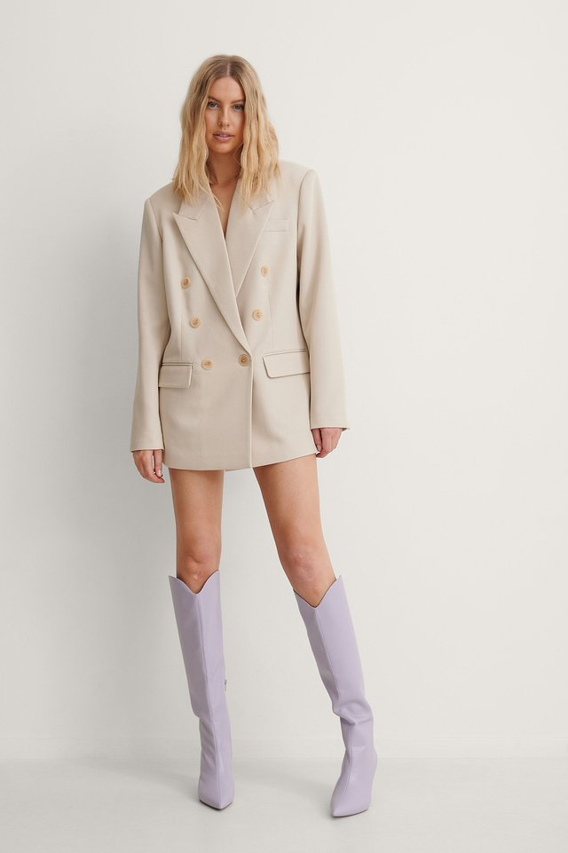 Lilac Pointy Shaft Boots