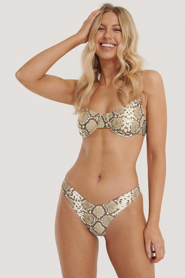 Snake Print Strukturiertes Pop-Bikini-Höschen V-Schnitt