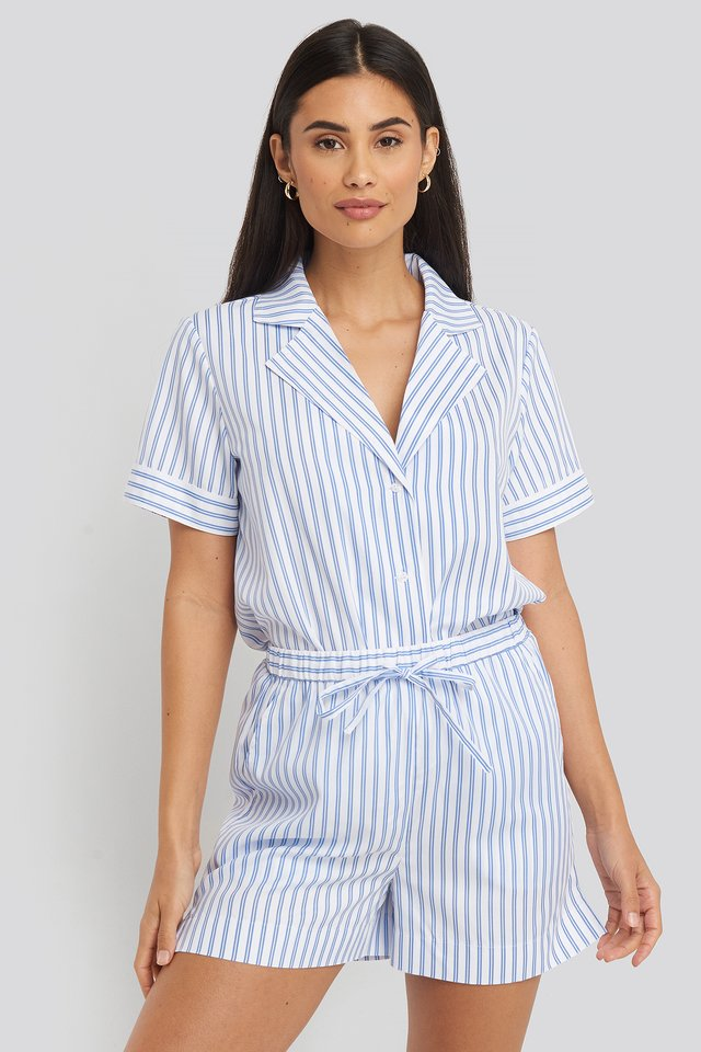 Poplin Cotton Night Shorts Blue/White Stripe