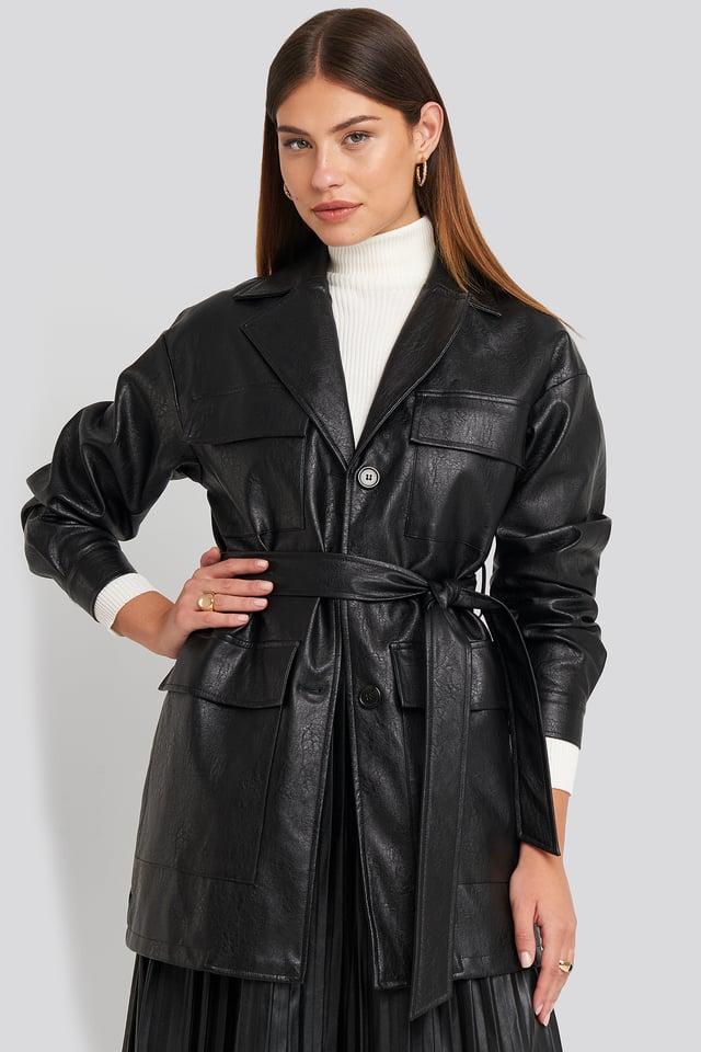 Power Shoulder Pu Jacket Black