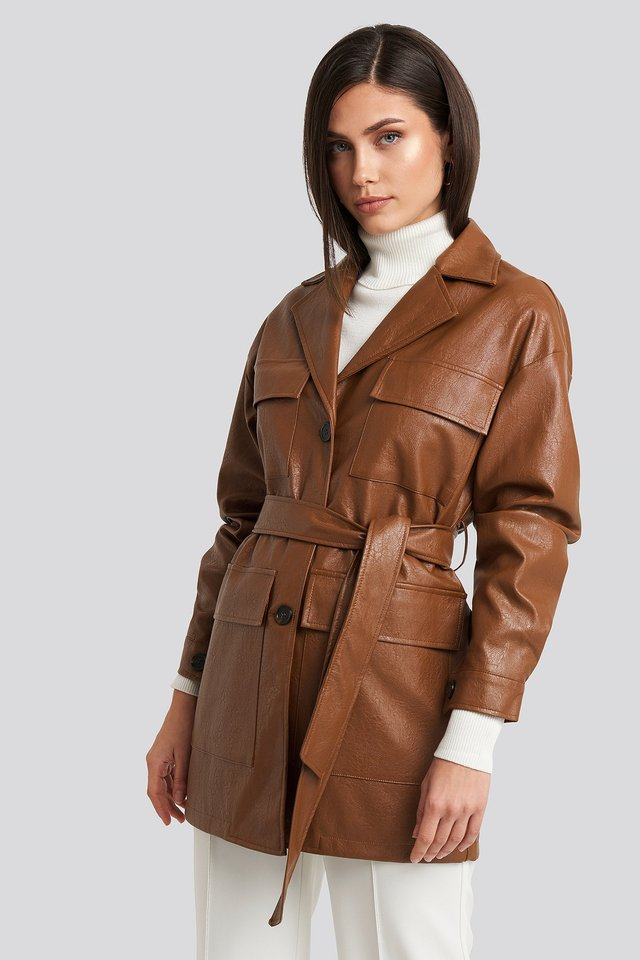 Power Shoulder Pu Jacket Brown