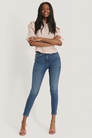 Dark Blue Højtaljede Skinny Jeans Med Powerstretch