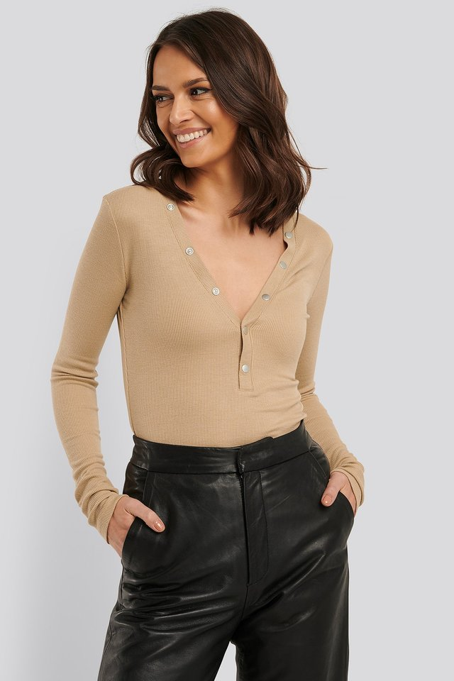 Press Button Rib Top Light Beige