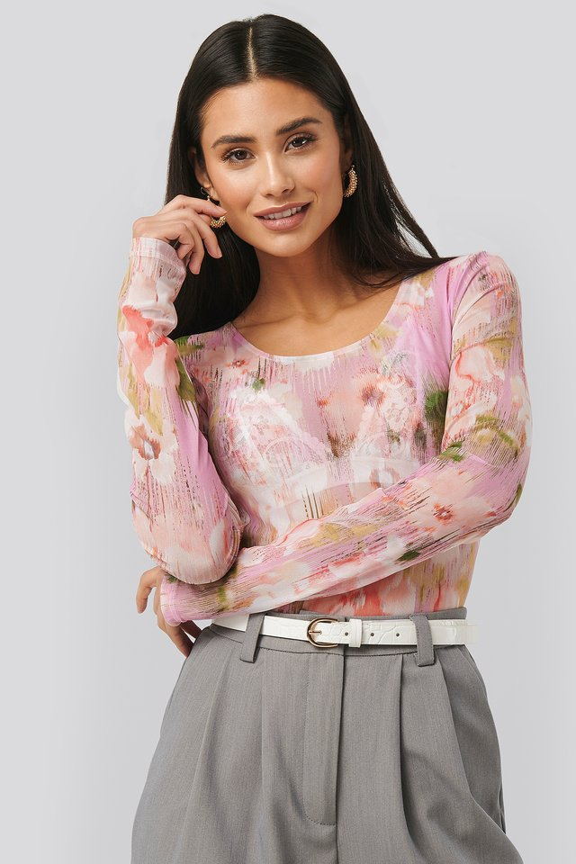 Printed Deep Round Neck Mesh Top Pink Flower