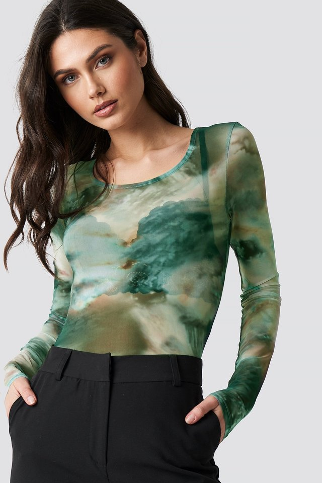 Printed Deep Round Neck Mesh Top Green
