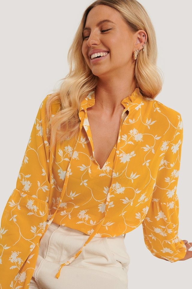 Printed Long Sleeve Blouse Yellow