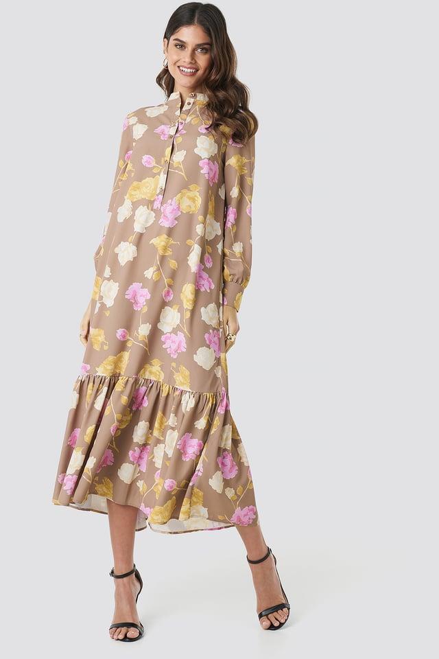 Printed Maxi Dress Pastel Rose Brown