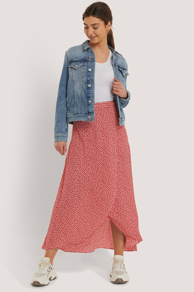 Printed Maxi Overlap Skirt Red Print