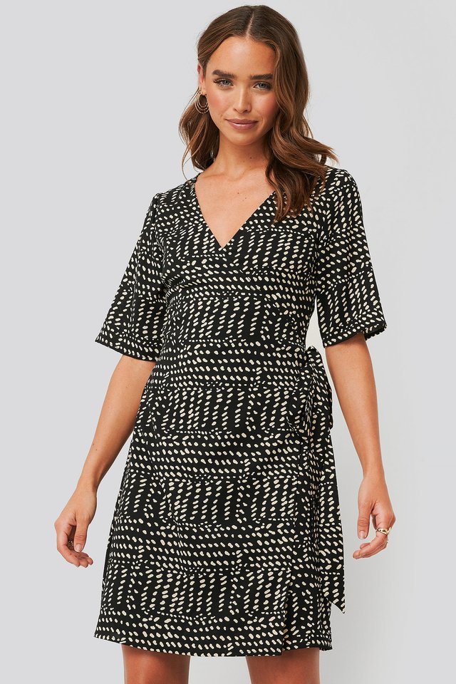 Black Printed Overlap Dress
