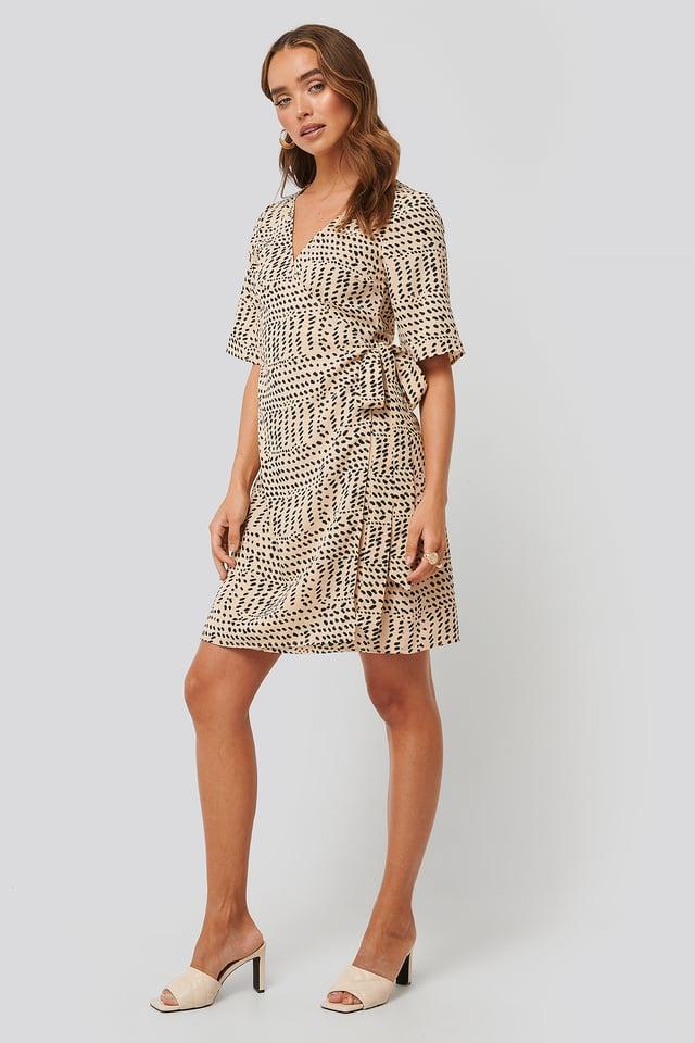 Cream Printed Overlap Dress