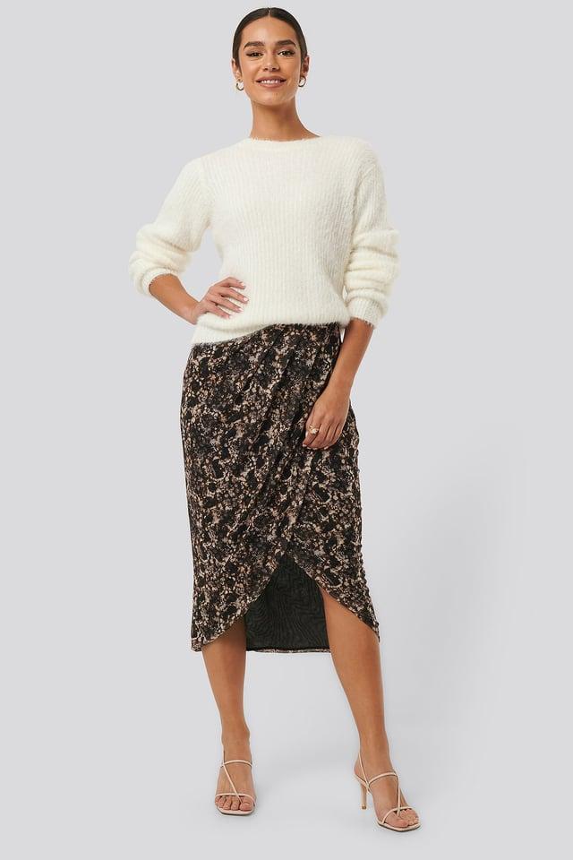 Printed Overlap Mesh Skirt NA-KD Trend