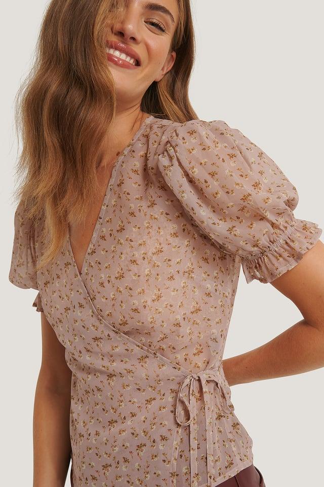 Printed Overlap Tie Blouse Dusty Pink Rose
