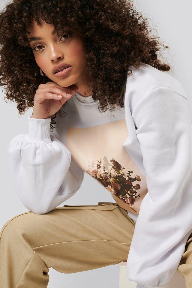 Printed Puff Sleeve Sweater White