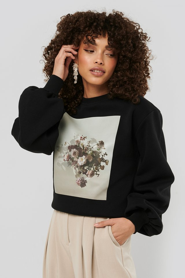 Printed Puff Sleeve Sweater Black