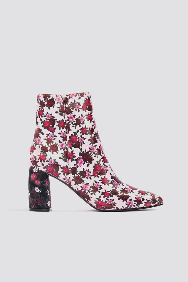 Printed Satin Mid Heel Boots Pink Rose Print