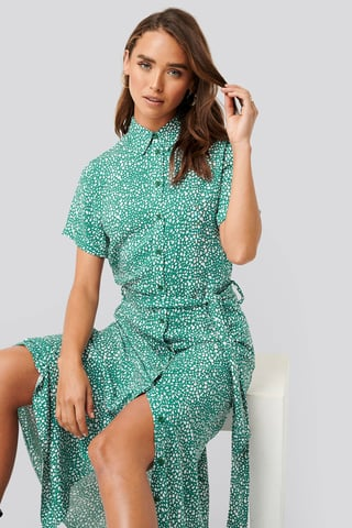 Green Print Printed Shirt Dress