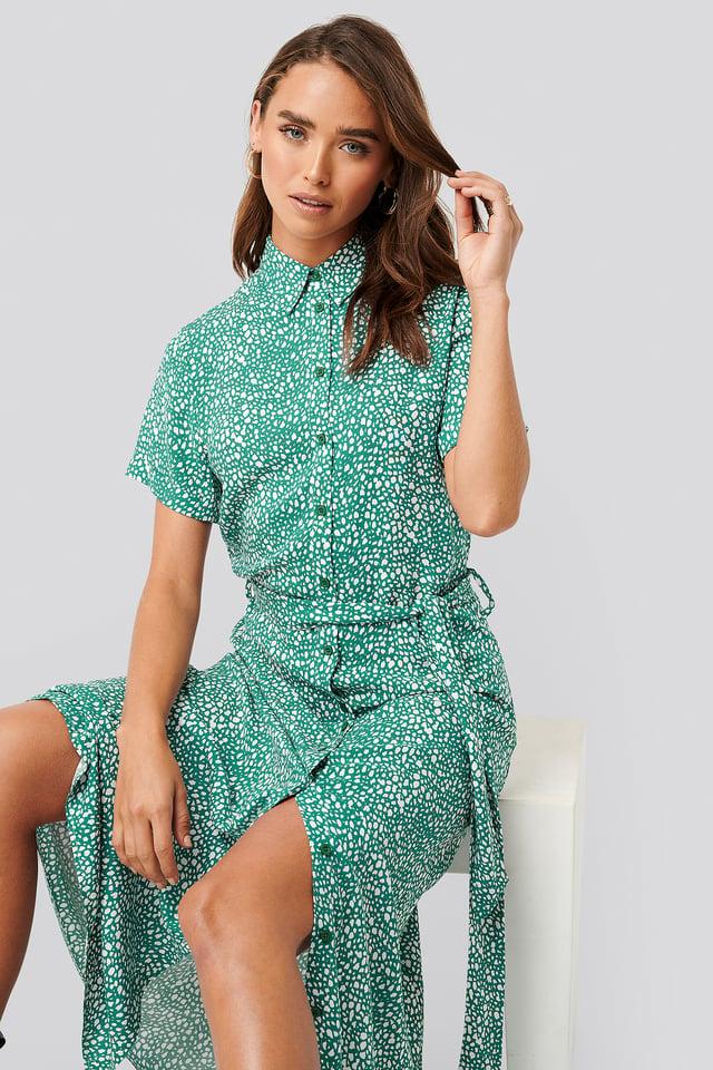 Printed Shirt Dress Green Print