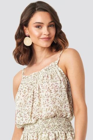Beige Flower Zwiewna Mini Sukienka