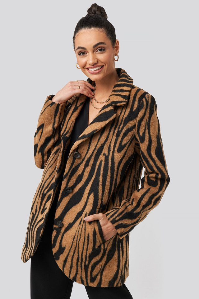 Printed Tiger Coat Animal Print