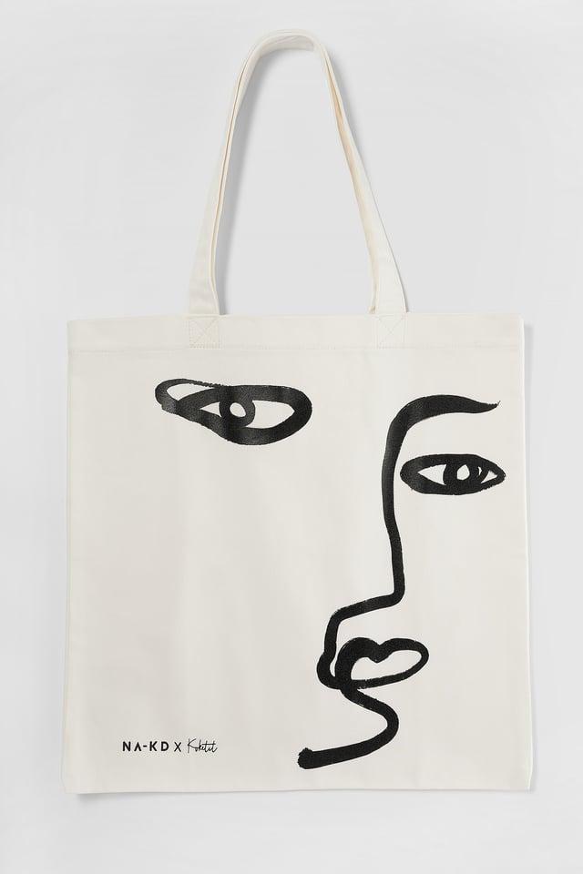 Natural Printed Tote Bag