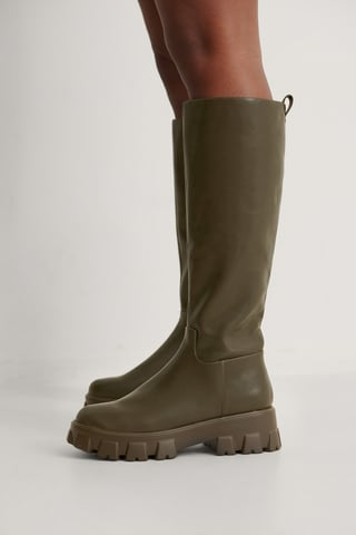 Khaki Profile Shaft Boots