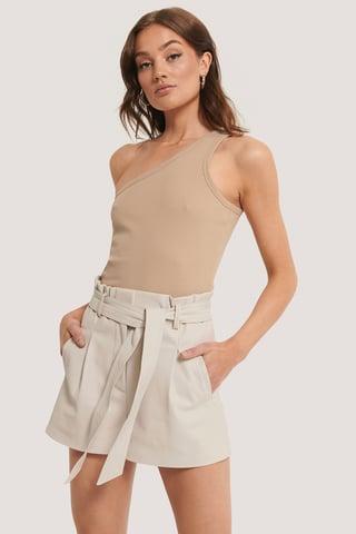 Offwhite Pu-Shorts Med Bælte
