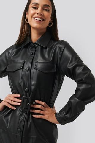 Black Soft PU Belted Mini Dress