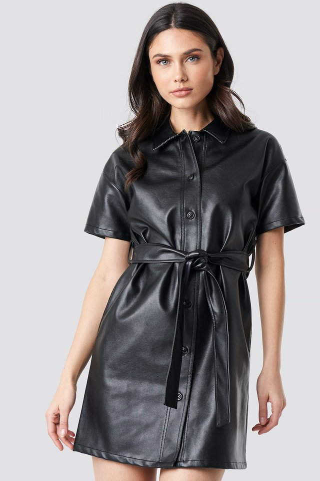 PU Belted Shirt Dress Black