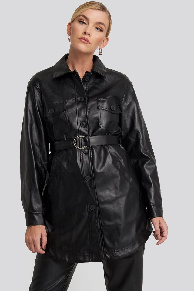 Pu Belted Shirt Jacket Black