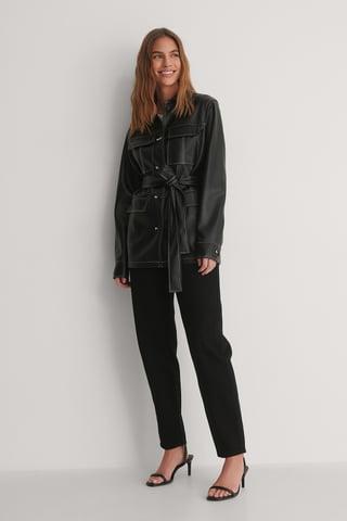 Black PU Belted Shirt Jacket