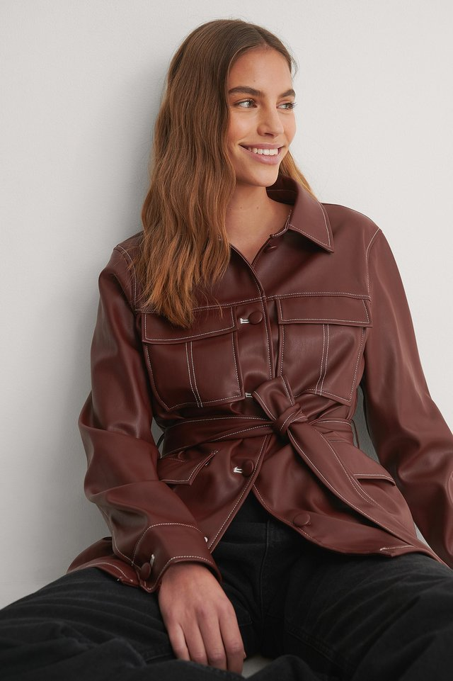 Burgundy PU Belted Shirt Jacket